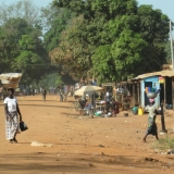 Main Street Of A Typical Burkina Town